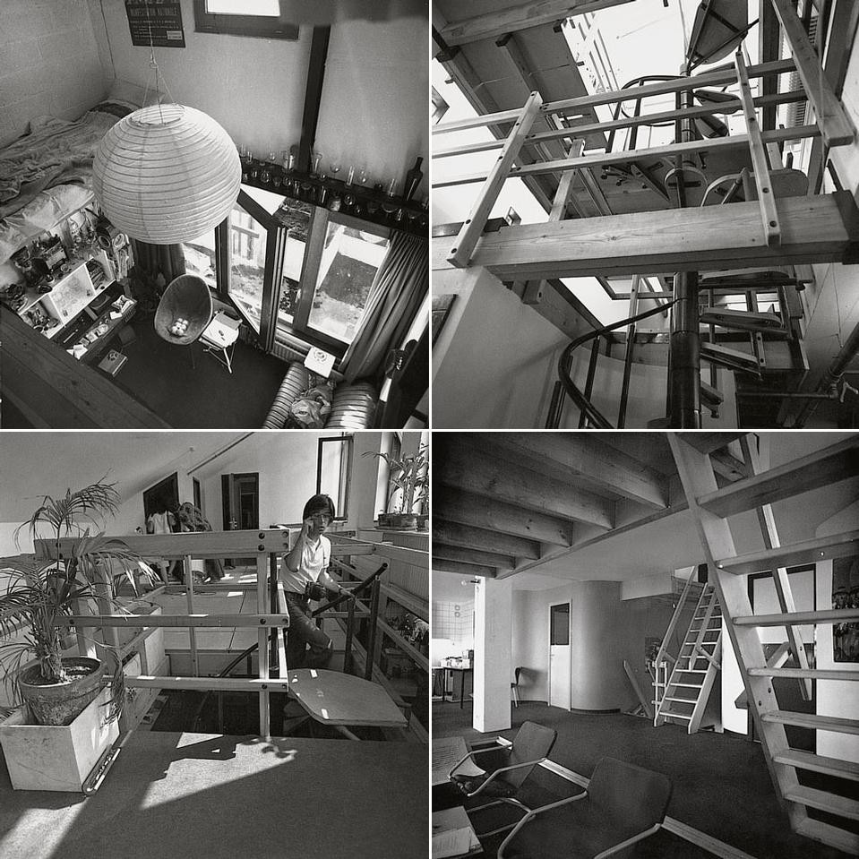 "Four views of the ""attics"".
