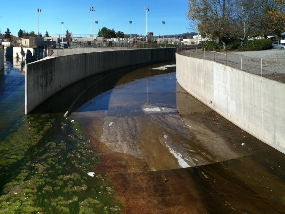 The headwaters of the L.A. River, sealed in concrete. Photo Geoff Manaugh