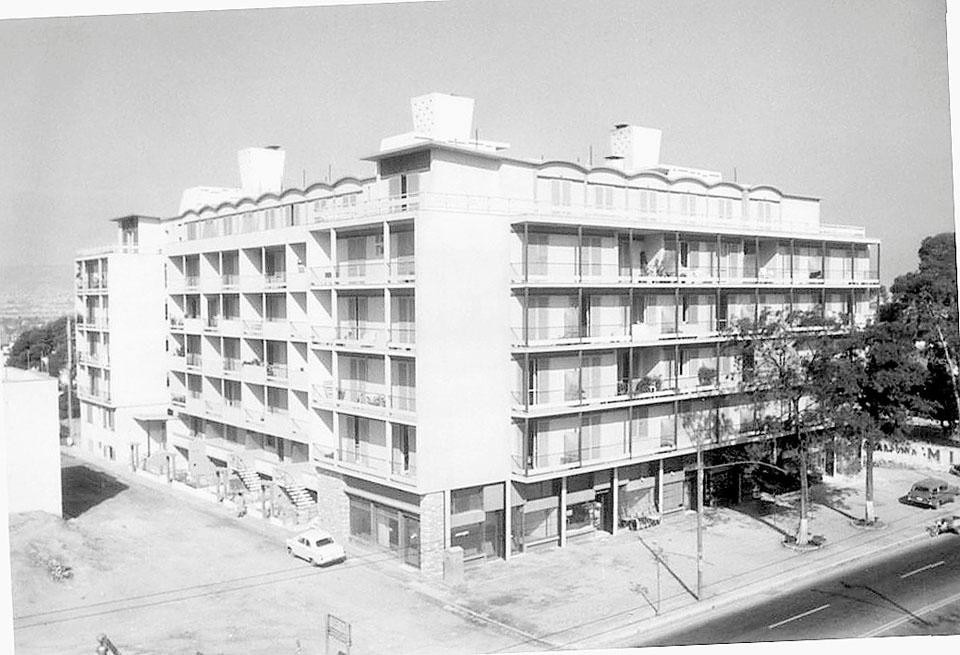 Built by Spanos and Papailiopoulos architects in the booming residential area of Patissia in 1960, Chara (above an image of the 1960s) had the purpose to deliver the original promise of Modernism.