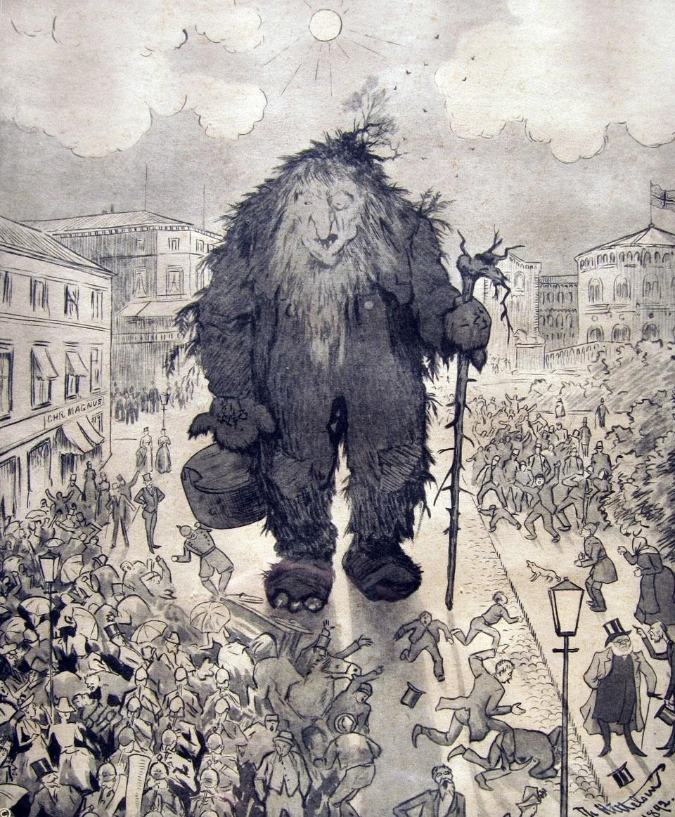 In a popular etching by the Norwegian artist Theodor Kittelsen, Henrik Ibsen walks slowly with a gentle Troll in the main street of Oslo whilst the panic-stricken population flees the giant.