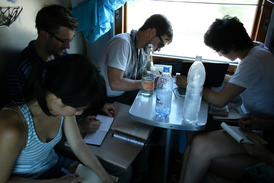 Creative soldier workshop on the train. Photograph by Nelly Ben Hayoun.