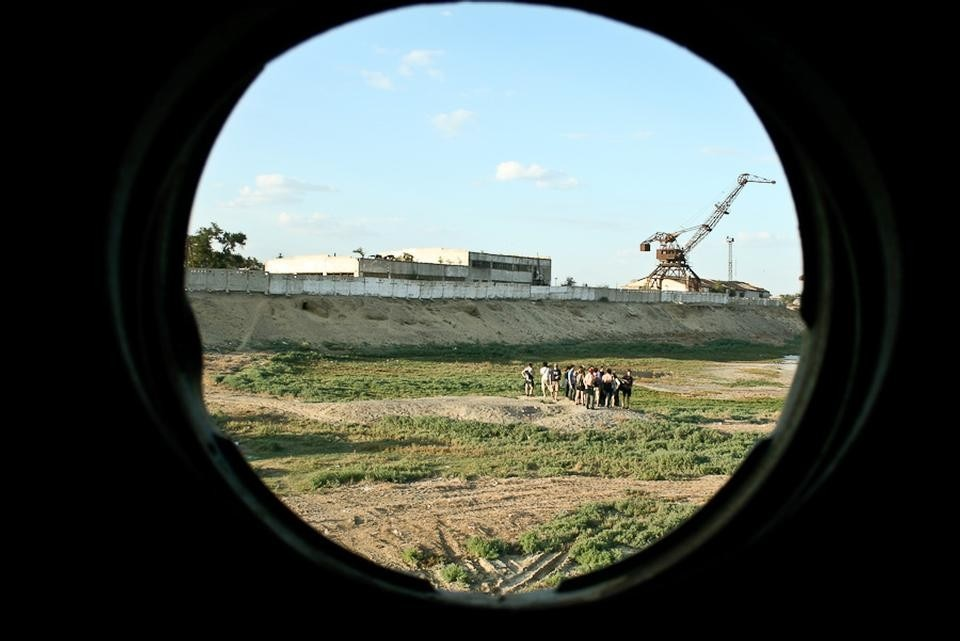 View from a defunct porthole. Photograph by Neil Berrett.