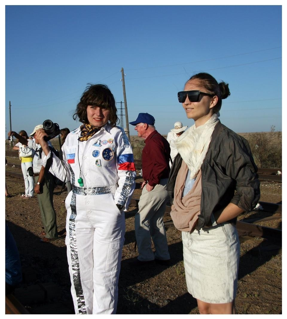 Regina Peldszus and Nelly Ben Hayoun in her cosmonaut costume waiting for the lift-off. Photograph by Samantha Lee.