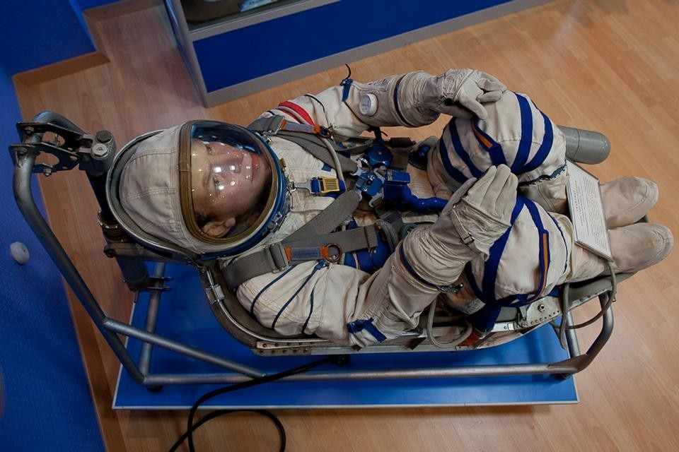 'Dried' cosmonaut in Baikonur cosmodrome museum. Photograph by Neil Berrett.
