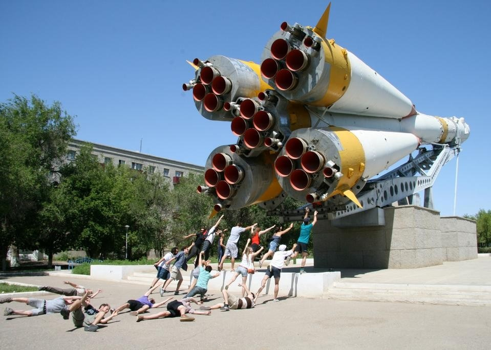 """Human smoke"" sculpture at Soyuz rocket. Photograph by Samantha Lee."