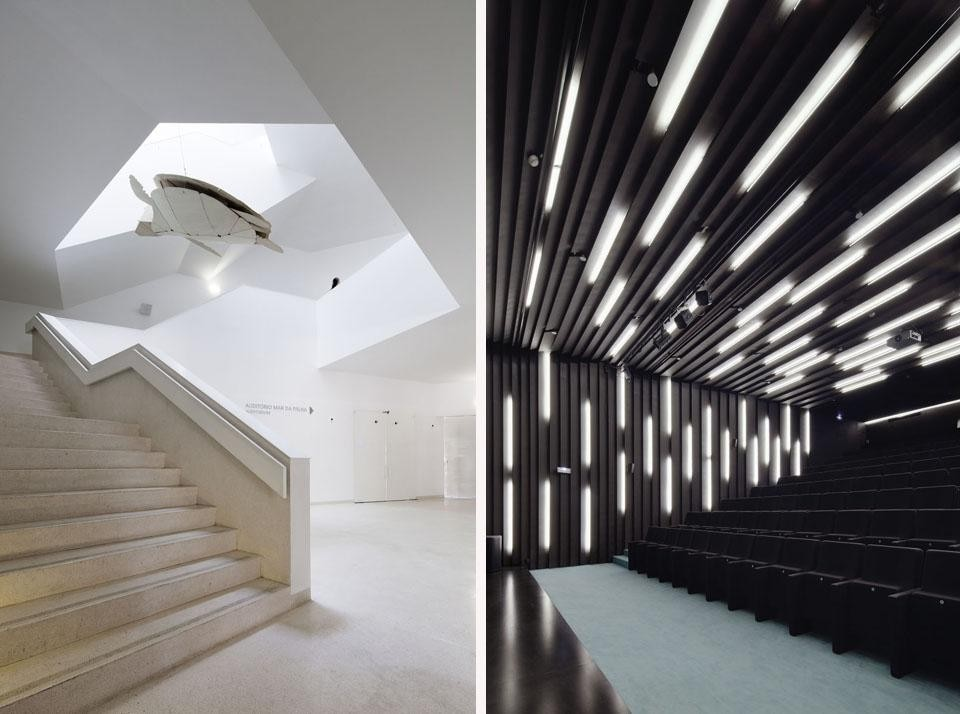"Left: the stair from auditorium on the basement level leads to the entrance hall and exhibition floors. Right: The auditorium has 125 seats and hosts a variety of events from lectures to children's shows to screenings and workshops. The interior surface, in black MDF, is marked by 'cuts' created with differently positioned artificial lights. Photo © <a href=""www.brunecky.com"" target=""_blanK"">Radek Brunecky</a>"