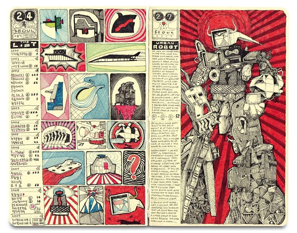 "<em>Illustrated Diary ""Architectural Transformer"" </em>(2010). Transformer is a monstrous agglomeration of his 51 projects (20 built and others left on paper)"