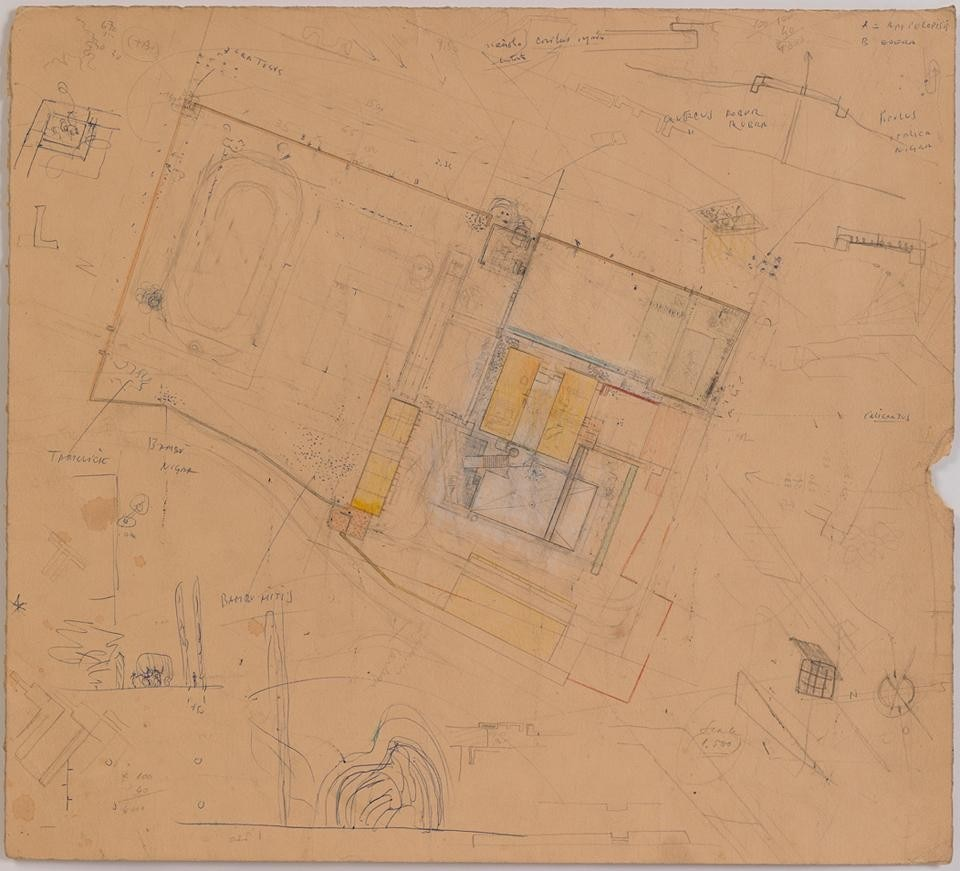 Top: <em>Carlo Scarpa: The Architect at Work</em> installation view at the Cooper Union. Above: Carlo Scarpa, Villa Il Palazzetto, General plan of the villa and grounds. Courtesy of The Irwin S. Chanin School of Architecture Archive of The Cooper Union