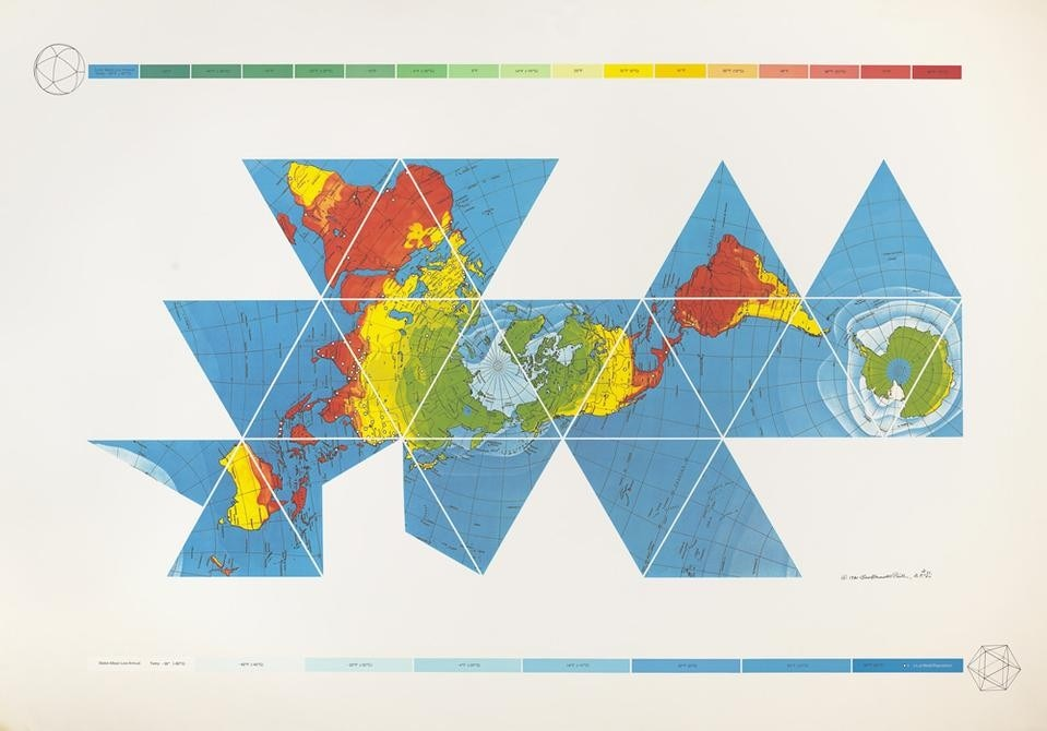 Buckminster Fuller and Chuck Byrne, <em>Dymaxion Air-Ocean World Map</em>, 1981. © The Estate of R. Buckminster Fuller, All Rights reserved