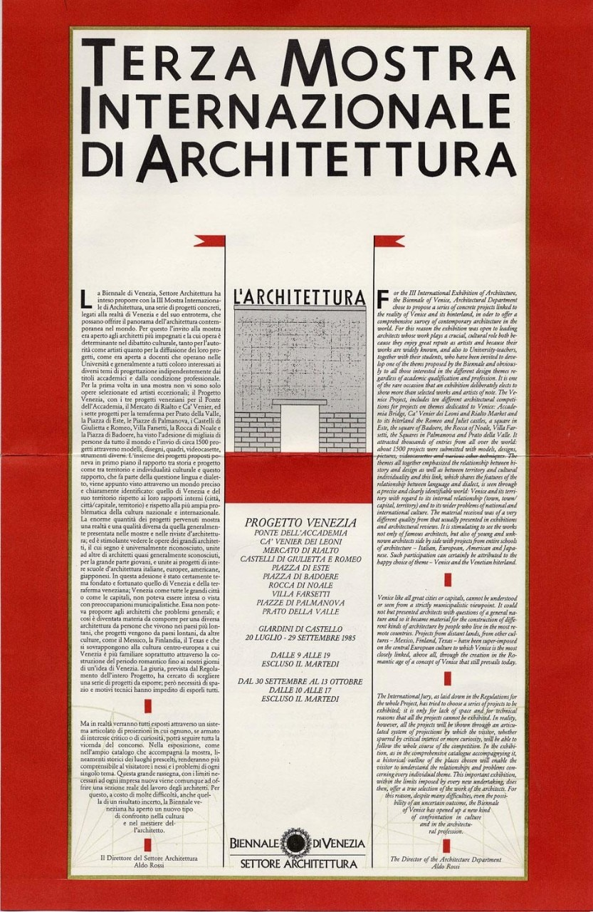 The program for the 1985 Venice Architecture Biennale, authored by Aldo Rossi. Image courtesy of ASAC