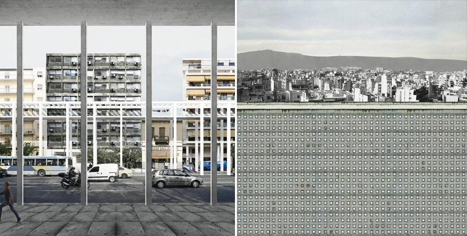 Left, Stoa. A free-standing layer of