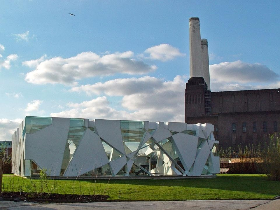 "Top: Frank O. Gehry,<em>Music-Pavillion</em>, 2008. Copyright 2012 Château La Coste and Frank O. Gehry. Above: Toyo Ito's Serpentine Pavilion, Battersea Power Station, London. Copyright <a href=""http://www.flickr.com/photos/fleshmeatdoll/2907567060/"" target=""_blank"">Thomas Volstorf</a>"