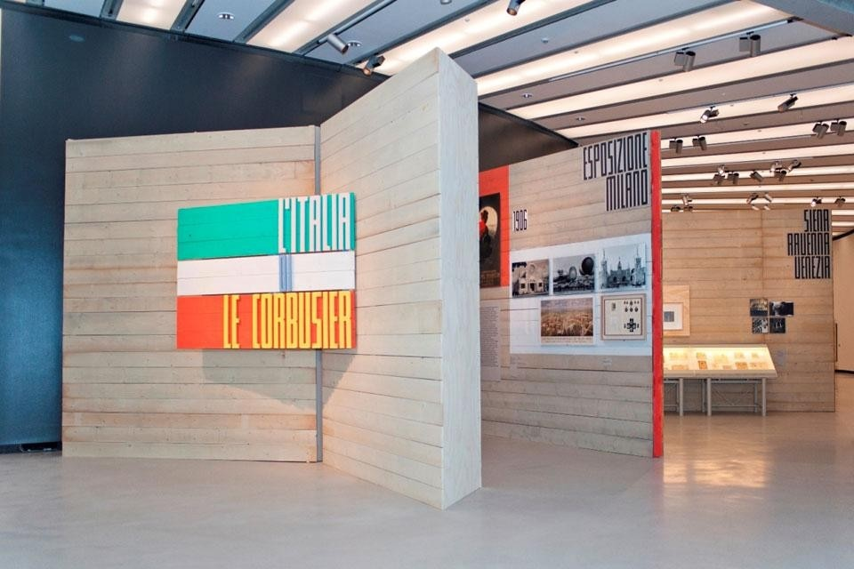 "Top and above: <em>L'Italia di Le Corbusier</em> [""Le Corbusier's Italy""], installation view at the MAXXI, Rome. Photos by Flaminia Nobili"