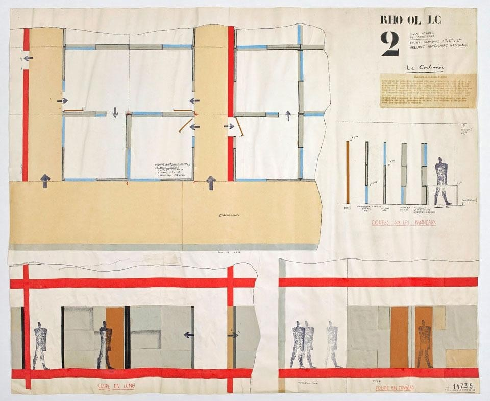 "Le Corbusier, <em>Project for Olivetti's Centre for Electronic Calculation in Rho, Italy</em>. Plan and section of the ""boite standard"", a habitable alveolar volume, 25 March 1936. Image courtesy of Fondation Le Corbusier"