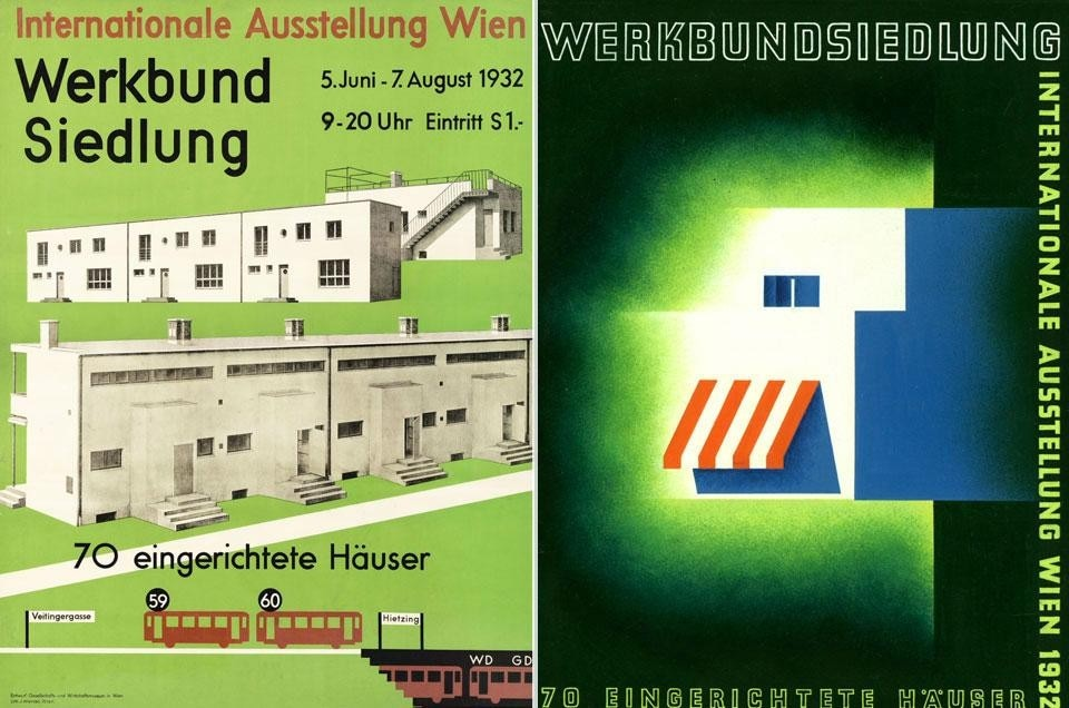 Left, Museum of Society and Economy, <em>Exhibition poster for the Werkbundsiedlung</em>, 1932. 