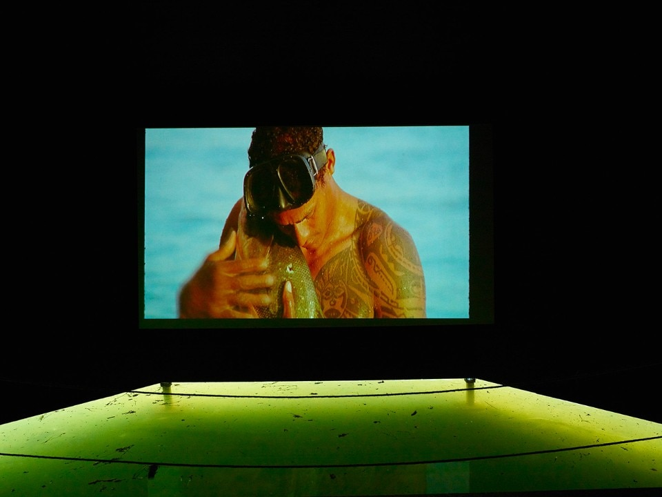 'O peixe' a short film by Brazilian artist Jonathas De Andrade. On view at the Liquid Pavillion, Serralves, 2017