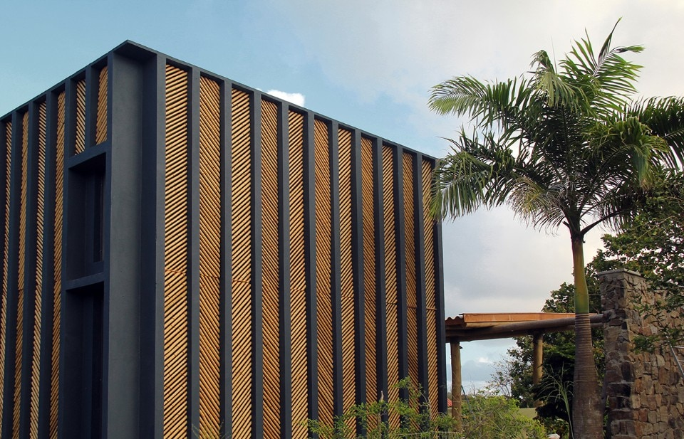 Brazil A Bamboo Clad House Made Of Blue Concrete By