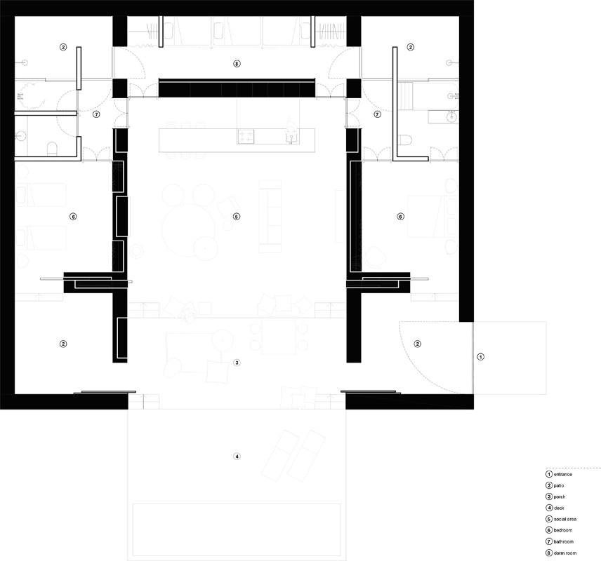 lo studio atelier data immerge una villa bianca tra i