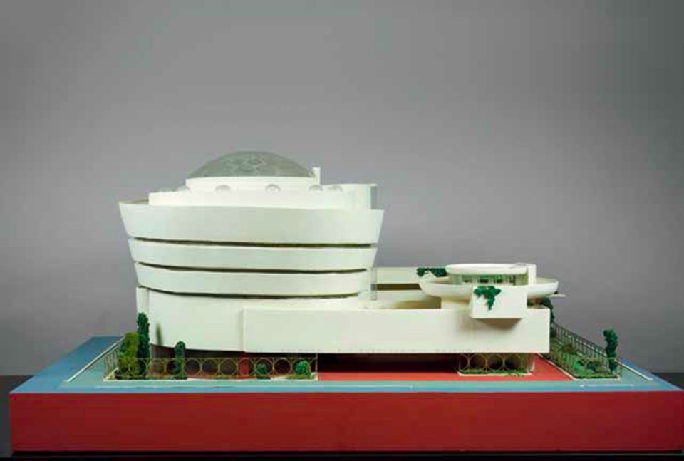 Frank Lloyd Wright, Solomon R. Guggenheim Museum, New York, 1943-1959. Model. Painted wood, plastic, glass beads, ink and watercolor on paper, 71.1 x 157.5 x 111.8 cm. From Domus 1015, July-August 2017