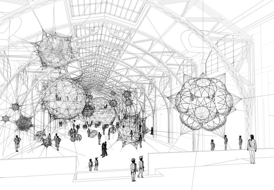 Tomás Saraceno, <i>Cloud Cities,</i> 2011. Design sketch for installation at the Hamburger Bahnhof. Courtesy Tomás Saraceno.