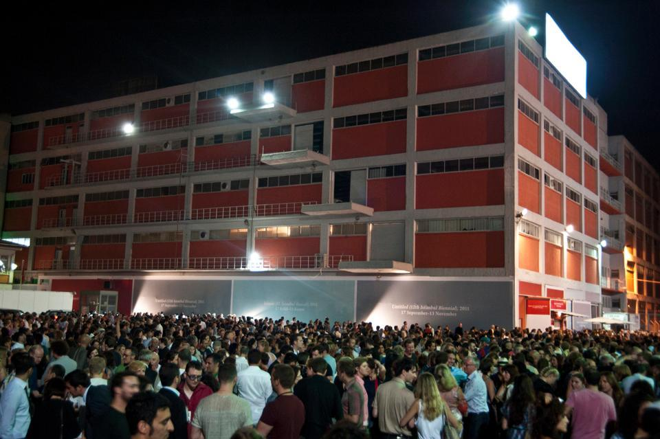 Exterior of Antrepo during the inaugural evening event. Photo Mustafa Onder.
