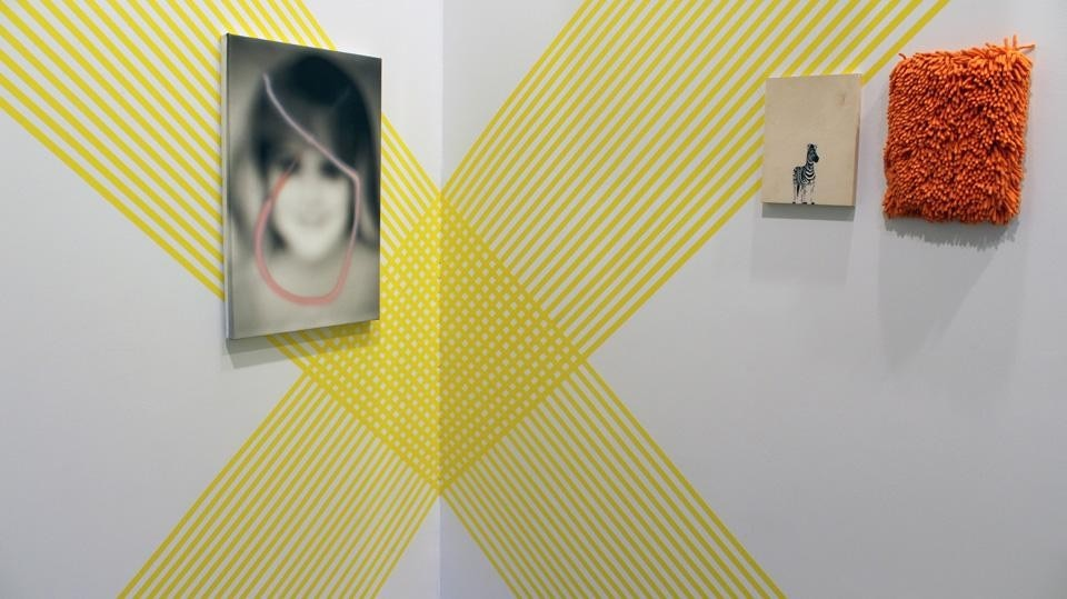 Top: Rebecca Ward, <em>Stripes</em>; David Mramor, <em>Blurred image</em>. Above, from left to right: David Mramor, <em>Blurred painting</em>, Rebecca Ward, <em>Stripes, Zebra</em> and <em>Carpet</em> paintings