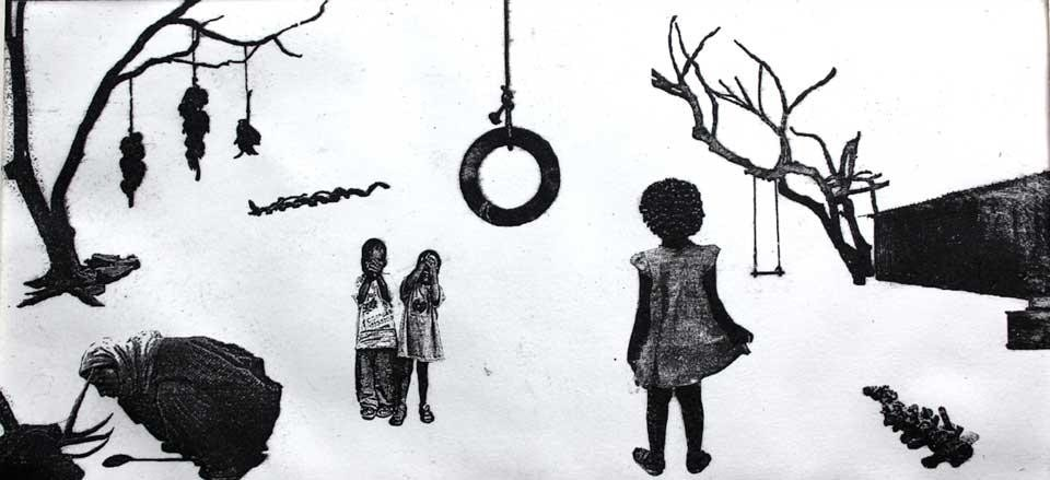 Nathalie Mba Bikoro, <em>The playground & from the sky (triptych)</em>, 2011. Courtesy of the artist and Dak'Art 2012