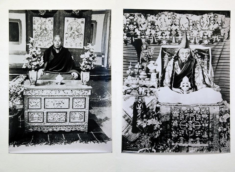 Paola Pivi, <em>Tulkus 1880 to 2018</em>, 2012. Left, unidentified <em>Tulku</em>. Right, Lhatsun Rinpoche (?-1959), Zhungpa Khangtsen, Sera Mey. Both images from the collection of David Sassoon