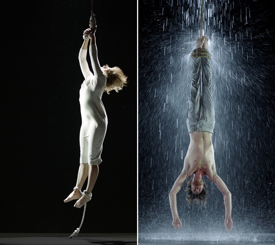 "Bill Viola, <i>Martyrs series</i>, 2014. <b>A sinistra</b>: <i>Air Martyr (Martire dell'aria)</i>, 7' 10"". <b>A destra</b>: <i>Water Martyr (Martire dell'acqua)</i>, 7' 10"". Courtesy of Bill Viola Studio"