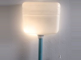 Plastic lamp by Notechdesign made from an old toilet cistern, 2002