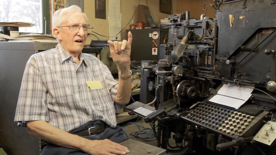 Deaf operator Eldon Meeks discusses his life with the Linotype