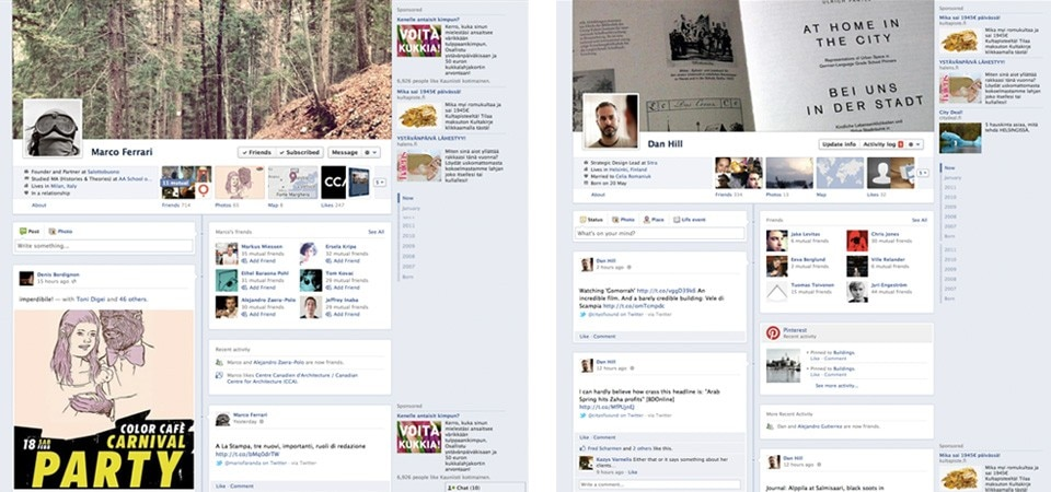 Examples of the Facebook Timeline