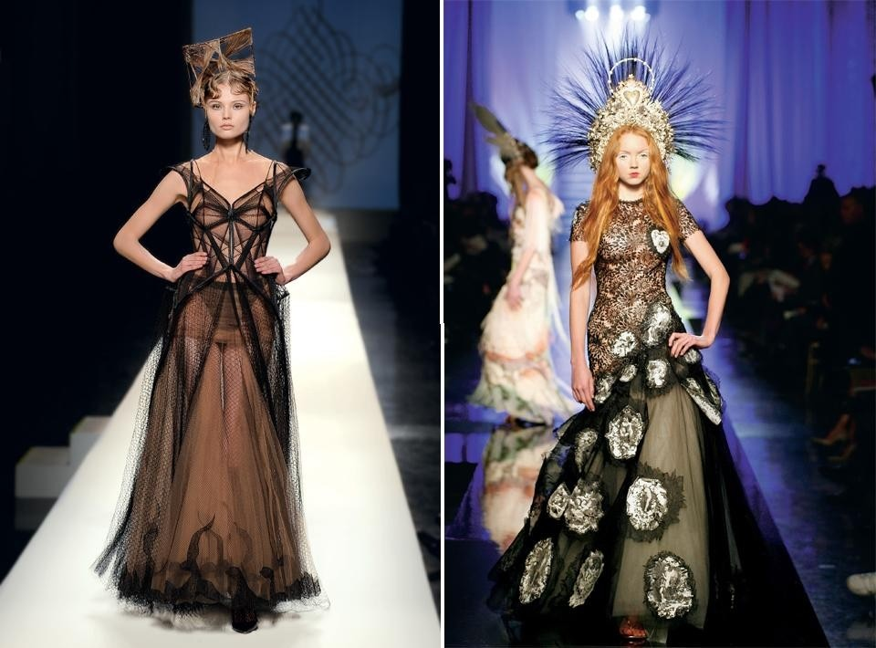 "Left, Jean Paul Gaultier, <em>Calligraphy</em> collection, ""Labyrinth"" gown. 