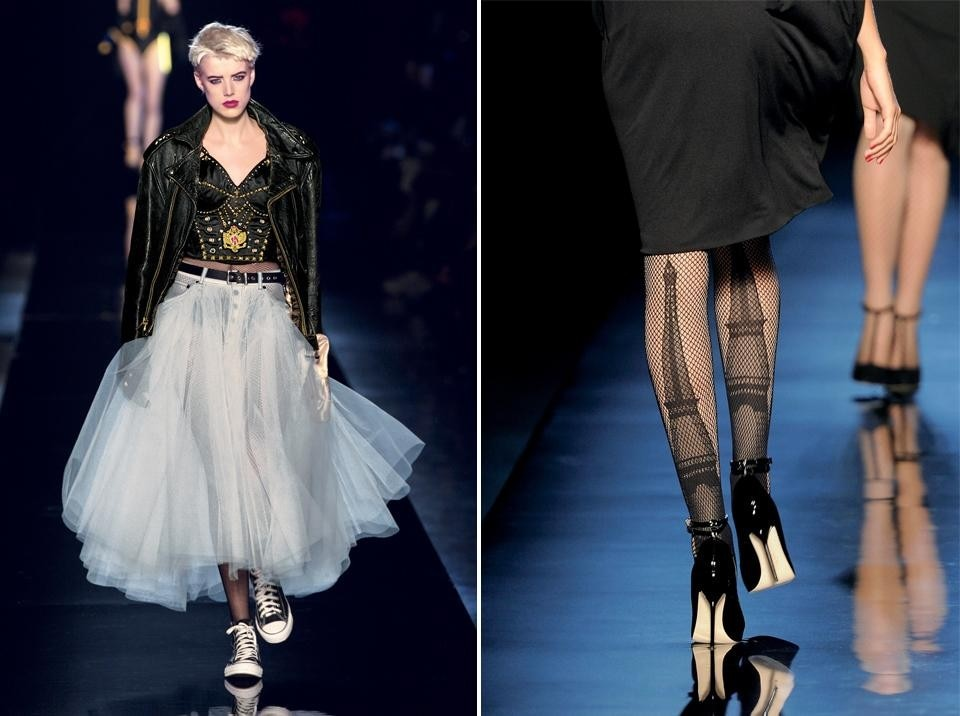 Left, Jean Paul Gaultier,  First collection. Women's pret-a-porter spring/summer 1977.  30th anniversary runway show, October 2006. © Patrice Stable/Jean Paul Gaultier. Right, Jean Paul Gaultier, Fishnet tights, <em>Parisiennes </em>collection.