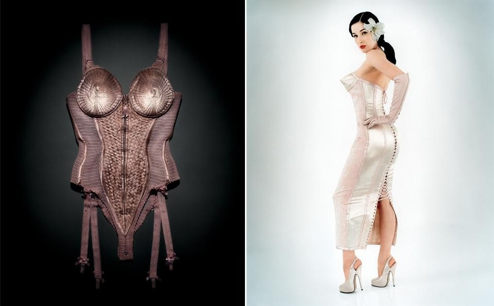 Left, Emil Larsson, Body corset worn by Madonna, Blond Ambition World Tour, 1990. Right, Perou, Dita Von Teese Flaunt, 2003.