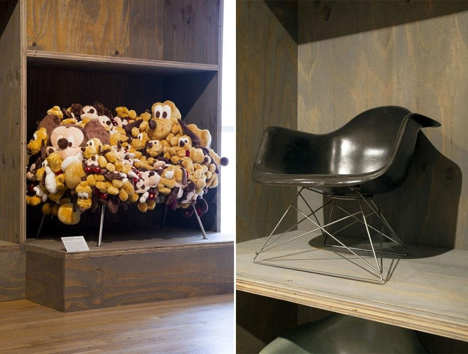 <em>Extraordinary Stories About Ordinary Things</em>, installation view at the Design Museum, London, 2013. Left, the Campana brothers' <em>Cartoon Chair</em>, 2007. Right, Charles Eames, <em>LAR armchair</em>, 1948