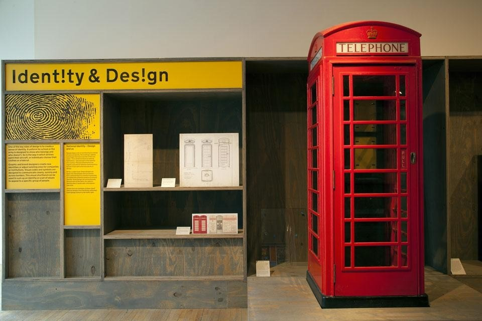 <em>Extraordinary Stories About Ordinary Things</em>, installation view at the Design Museum, London, 2013. Right, the <em>K6</em> Kiosk designed by Sir Giles Gilbert Scott