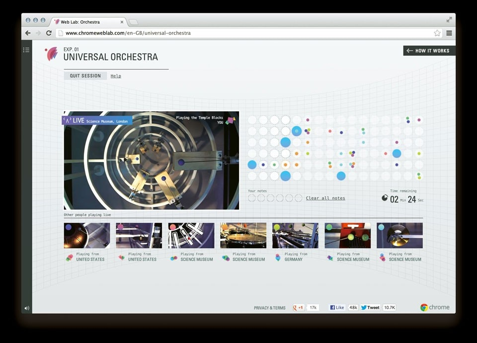 Online interface for the Universal Orchestra and Teleporter experiments