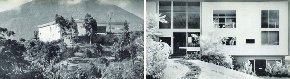 Left:The natural environment in which the house stands is on top of a <i>'cerrito'</i> (a small  hill). On the <i>'cerrito'</i> around the house, the garden was not designed but created with a wonderful collection of trees and tropical flowers chosen by the clients themselves who have a great love for these things and are very knowledgeable about them. Right: the facade towards Caracas