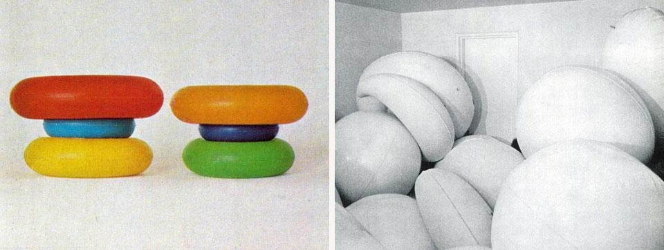 Left: two colored inflatable stools. Right: another <i>pneu</i> realization by Quentin: an <i>accumulation</i> of pneumatic forms on exhibit in June in Paris at the Galerie Givaudan. Quentin had a show at the Galleria Apollinaire in Milan this winter.