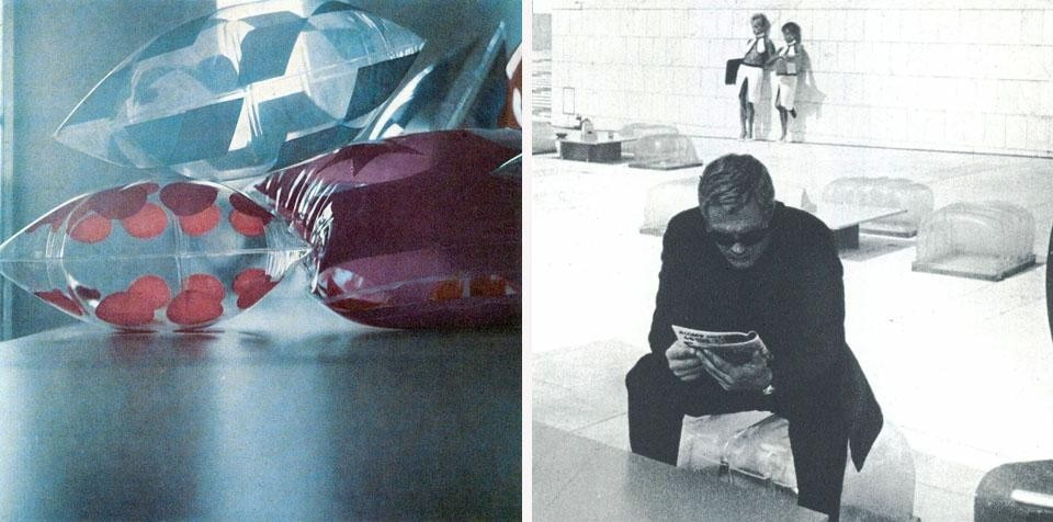 Right: an inflated transparent plastic seat, designed by Piero Poletto, set designer,  for the film <i>La decima vittima</i> by Elio Petri, 1966 (Domus 437).