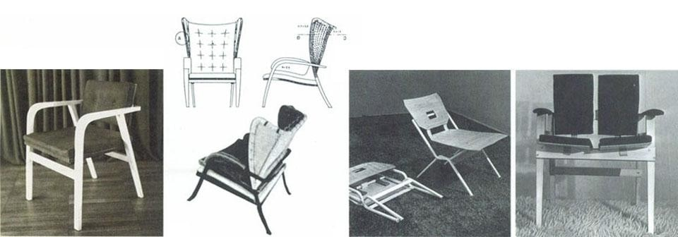Chair for Villa Pestarini, 1938. Armchair for Villa Neuffer, Ispra 1940. Folding chair of painted tubular metal and playwood (9th Milan Triennale, 1951). Above: TL3 table, for Poggi.