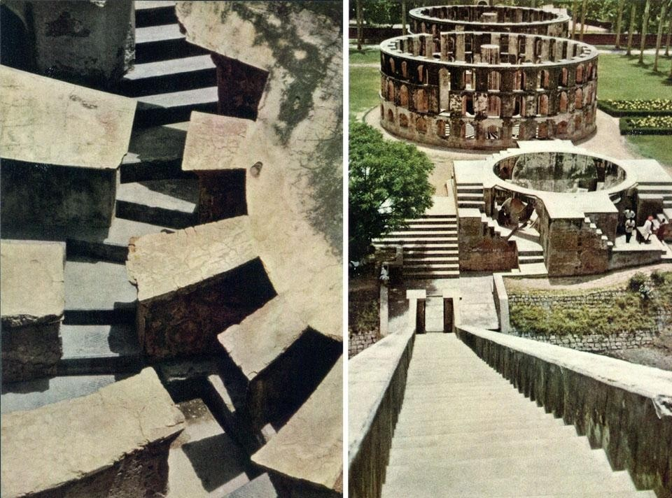 "Delhi: The ""architectural astronomical instruments"" of Jantar Mantar built in the 18th century. In India, the methods of observation of the skies grew with the construction of these huge brick and stone instruments, whose enormous scale allowed observers to attain a high degree of accuracy in their measurements."