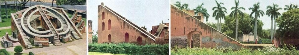 Abstract forms and space of the Jantar Mantar architectural instruments.