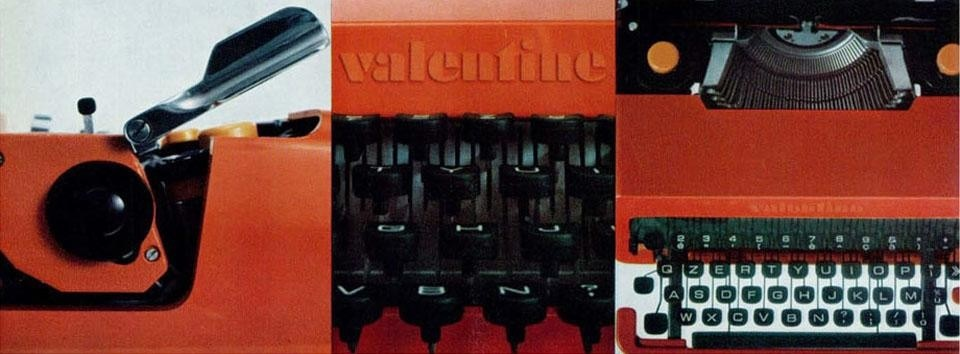 Details of the Valentine typewriter, produced by Olivetti and designed by Ettore Sottsass Jr. with Perry A. King.