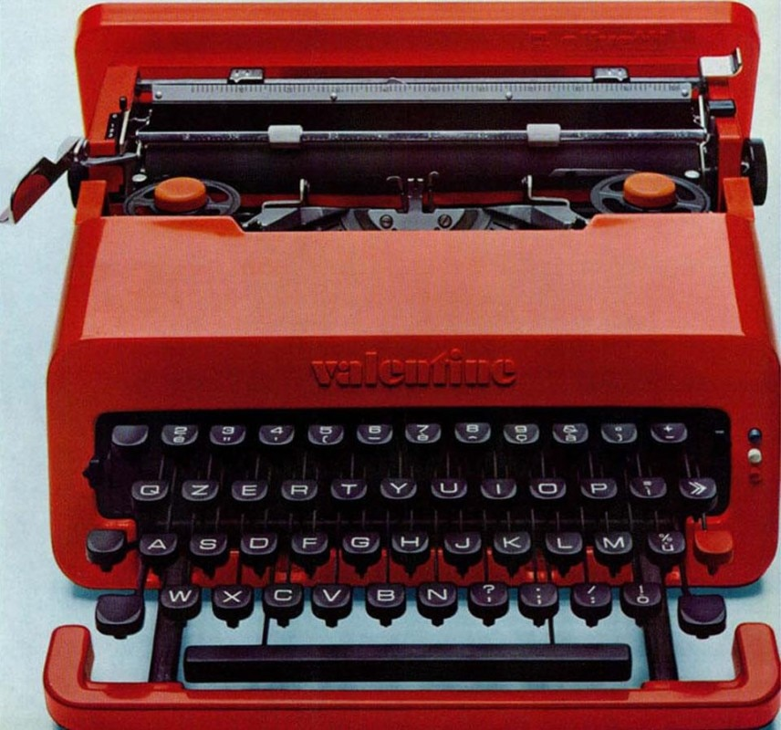 The Valentine typewriter, produced by Olivetti and designed by Ettore Sottsass Jr. with Perry A. King.