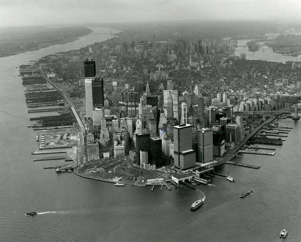 View of Manhattan from the south, World Trade Center at left, from Domus 524/July 1973.