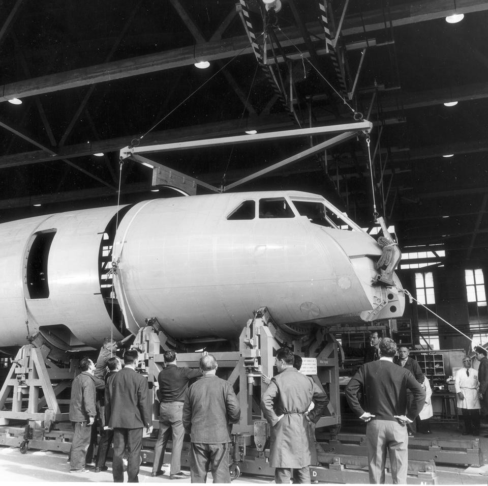 The Concorde 001 prototype in the hangar at Toulouse Blagnac airport. Photo by Sud-aviation, 1967