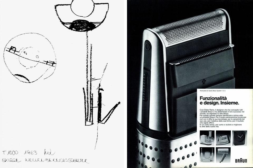 Left, Dieter Rams, sketch, 1963. Right, Dieter Rams for Braun
