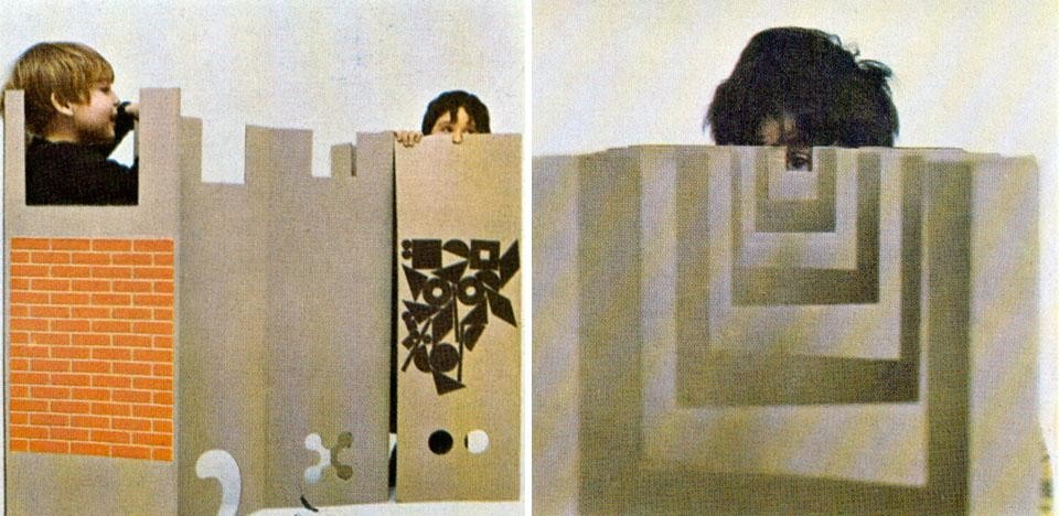 Domus 458 / February 1968 page details. <em>Il posto dei giochi</em> [The place of games], in cardboard, can be used as a mat or a screen with several folds, either in the printed side or the plain one